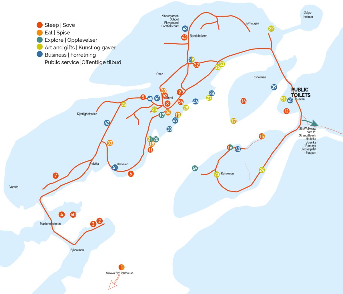 Oversiktskart over Skrova med plassering av overnatting, spisesteder, opplevelser og butikker og forretninger